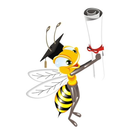 studious: bee with diplom Illustration