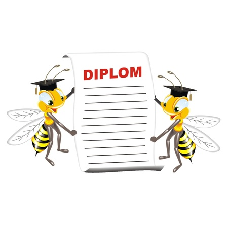 bees with diplom Stock Vector - 21617026