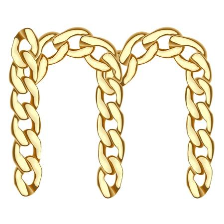 M carta de cadena de oro