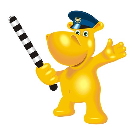 hippopotamus police Illustration