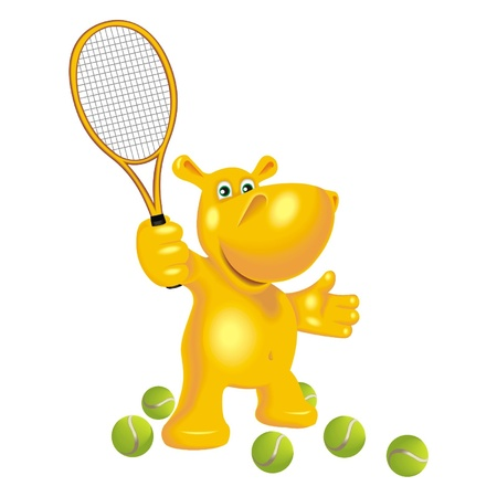 hippopotamus with a tennis racket Vector