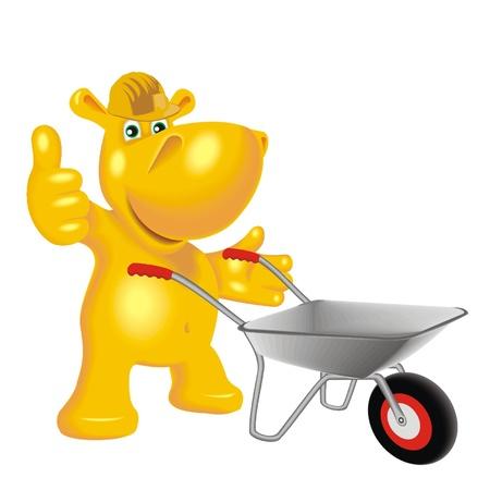 hippopotamus with a wheelbarrow Stock Vector - 21699667