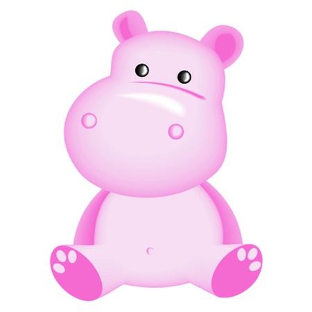 cartoon hippo: pink hippopotam