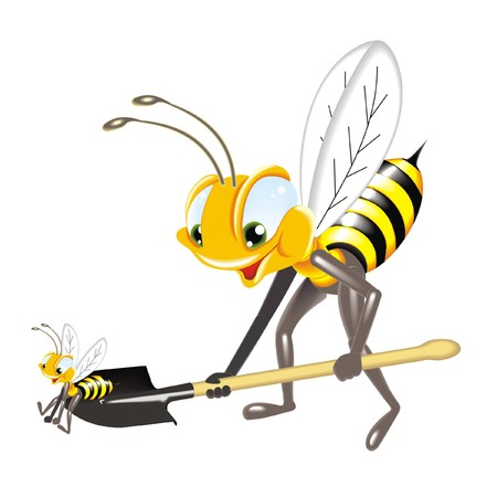 studious: bee with shovel
