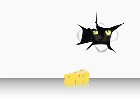 cat for paper with cheese Vector