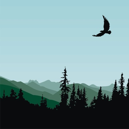 Eagle Mountain Forest Vector