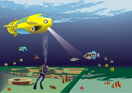 underwater archeology with deep bathyscaphe and aqualunger