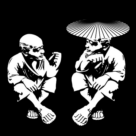 mustached: two old men smoking Illustration