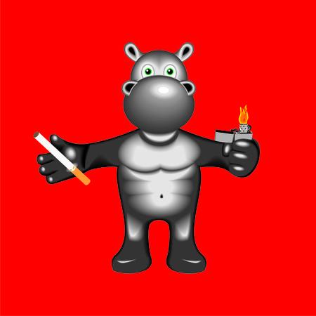 cigaret: hippopotamus with cigaret Illustration
