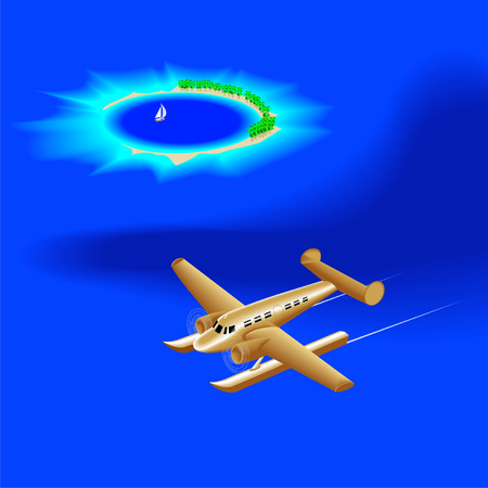hydroplane: hydroplane over the atoll