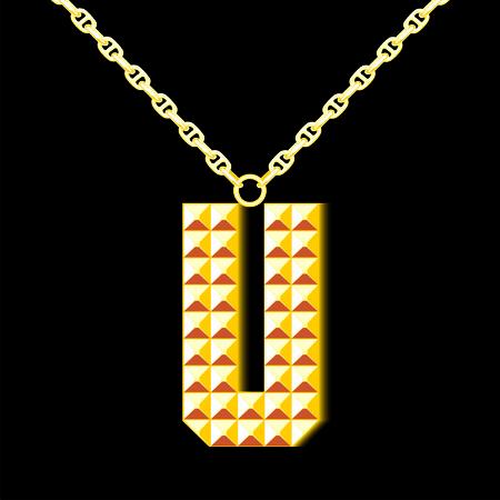 learning series: Gold letter U Illustration