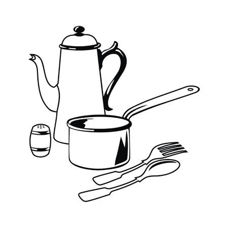 utensilios de cocina: art�culos para cocinar  Vectores