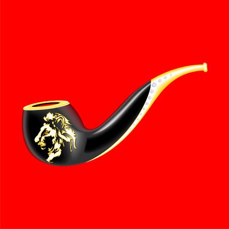 pipe smoking: smoking pipe with a lion Illustration