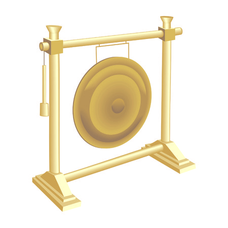 exotic gleam: Golden gong in temple isolated on white Illustration