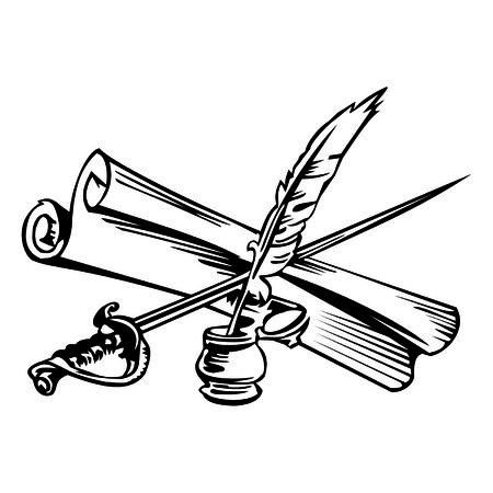 ink pen and sword Ilustração Vetorial