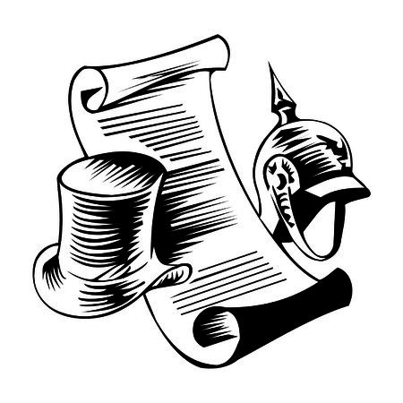 letter with hat and helmet Illustration
