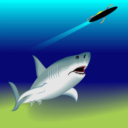 attacked: shark attacked the surfer Illustration
