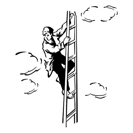 ascend: Man climbs the stairs to heaven