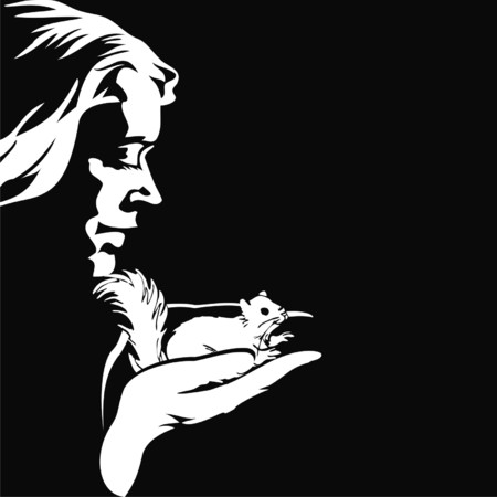 feeds: silhouette girl with a squirrel