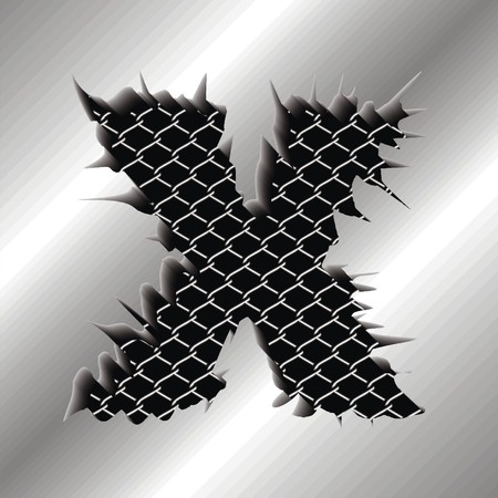 perforation: Letter X Illustration