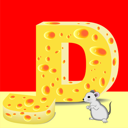 letter D of cheese and mouse Illustration