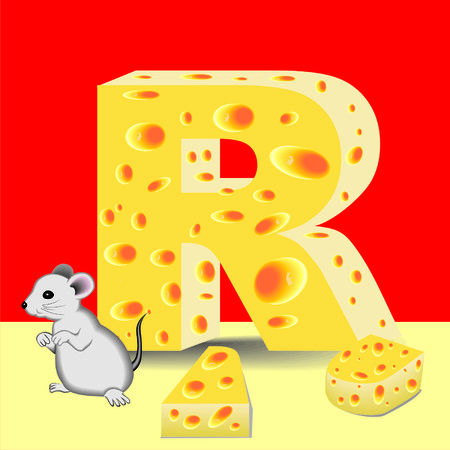 letter R of cheese and mouse