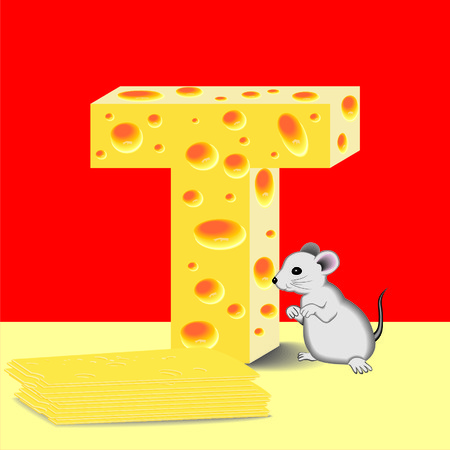 letter T of cheese and mouse