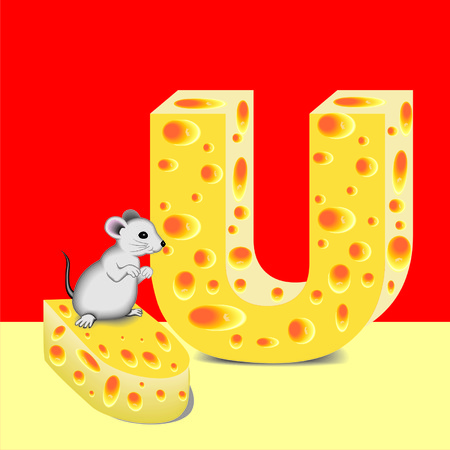 letter U of cheese and mouse