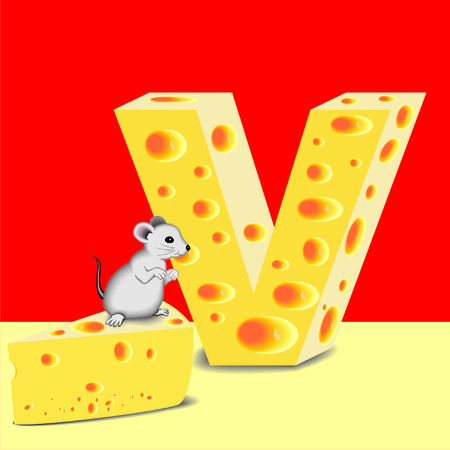letter V of cheese and mouse