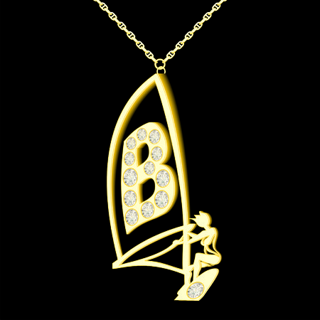 pendant: B pendant of gold and diamonds in the form windserf Illustration