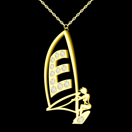 pendant: E pendant of gold and diamonds in the form windserf