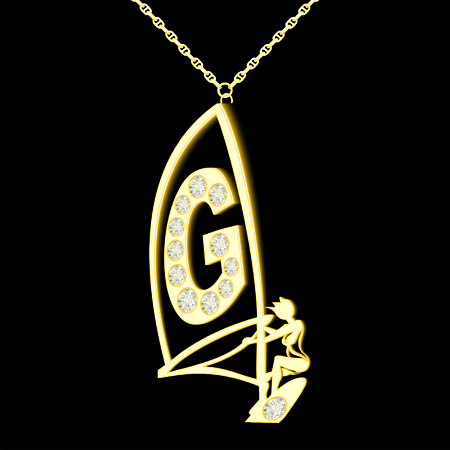 pendant: G pendant of gold and diamonds in the form windserf