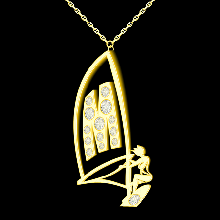 pendant: M pendant of gold and diamonds in the form windserf