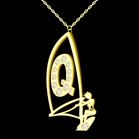 Q pendant of gold and diamonds in the form windserf