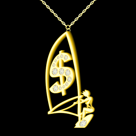 dollar mark pendant of gold and diamonds in the form windserf Illustration