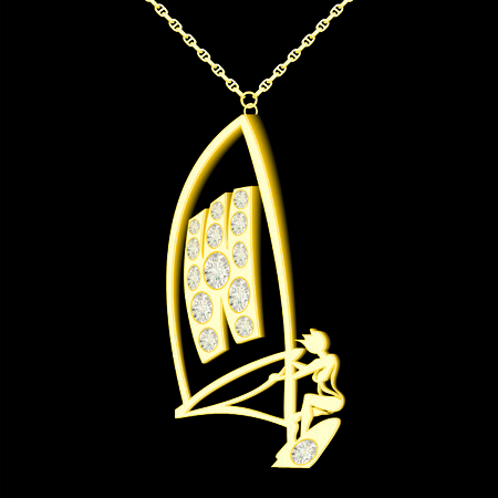 W pendant of gold and diamonds in the form windserf