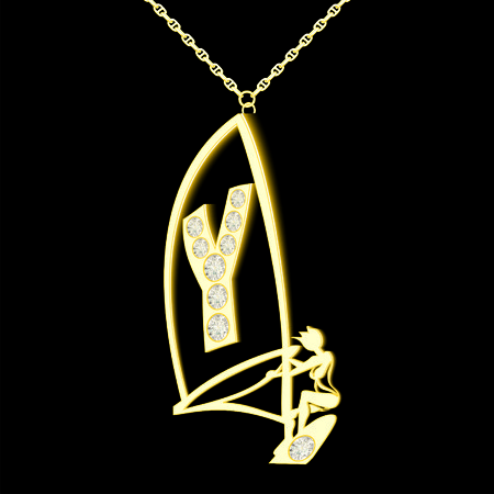 pendant: Y pendant of gold and diamonds in the form windserf