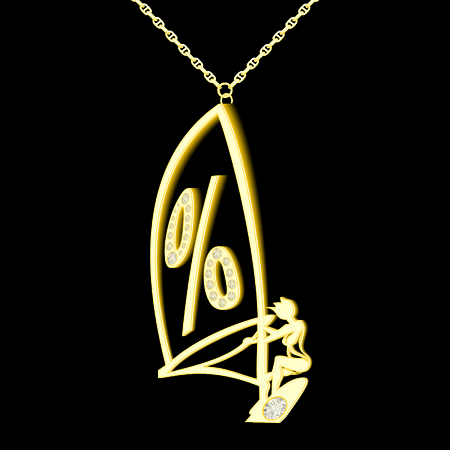percent pendant of gold and diamonds in the form windserf