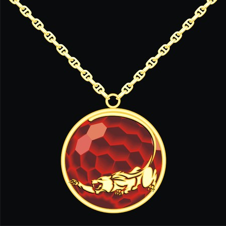 trinket: Ruby medallion on a chain with a panther