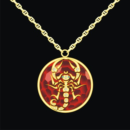 lavaliere: Ruby medallion on a chain with a scorpion