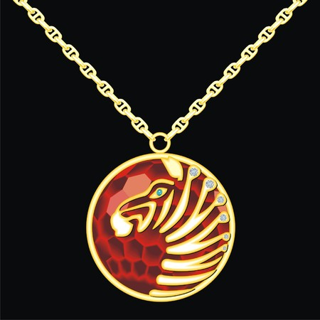 knickknack: Ruby medallion on a chain with a zebra