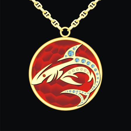 medallion: Ruby medallion on a chain with shark