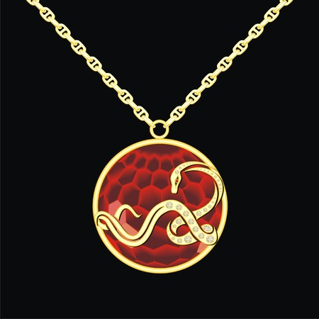 Ruby medallion on a chain with snake