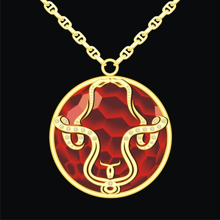knickknack: Ruby medallion on a chain with two snake