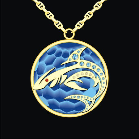 lavaliere: sapphire medallion on a chain with shark