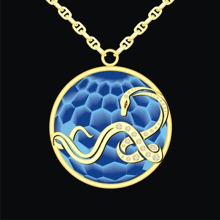 sapphire: medallón de zafiro en una cadena con la serpiente