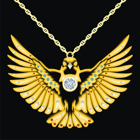 knickknack: gold bird medallion