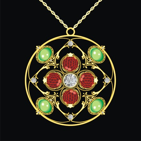 lavaliere: gold medallion with precious stones