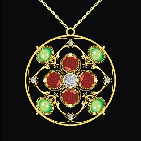 piedras preciosas: medallón de oro con piedras preciosas