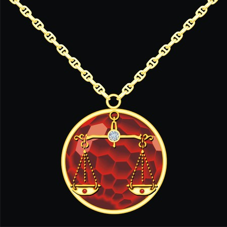 trinket: Ruby medallion on a chain with a libra